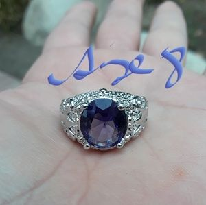 White Gold Filled Ring With Amythest Crystals